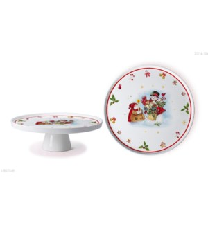 New Bone China Serving Platter 11in with StandChristmas Desi 643700372949