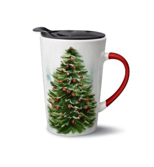 New Bone China Christmas Travel Mug 13.5 oz With Plastic lid 643700372901