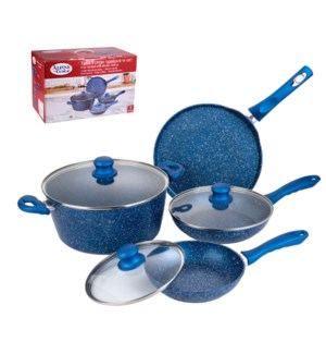 Forged Cookware 7pc Set Alum.Blue Nonstick with Marble Coati 643700310996