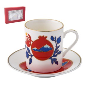 Coffee Cup and Saucer 6 by 6, 3.5oz, New Bone China with 2mm 643700241030