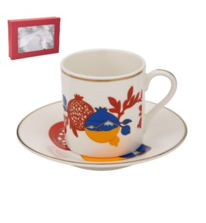 Coffee Cup and Saucer 6 by 6, 3.5oz, New Bone China with 2mm 643700241054
