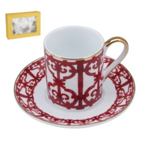 Coffee Cup and Saucer 6 by 6, 3.5oz, New Bone China with 2mm 643700247735