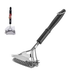BBQ Triple Head Brush with Scraper 16.5x6in                  643700311832