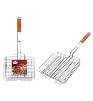 BBQ Grill Basket 24.5in Rectangular with Wood Handle         643700023100
