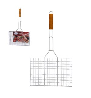 BBQ Grill Rectangular Flat with Wood Handle 24in             643700023162