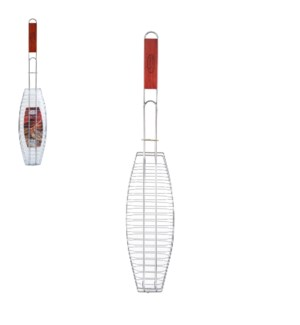 BBQ Fish Grill 26in with Wood Handle                         643700023124