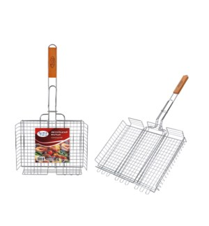 BBQ Grill Basket 28in Rectangular with Wood Handle           643700023155