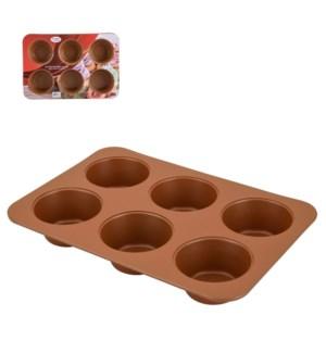 Muffin Pan 6 Cup Carbon Steel 13.5x9in Copper Nonstick Coati 643700264633
