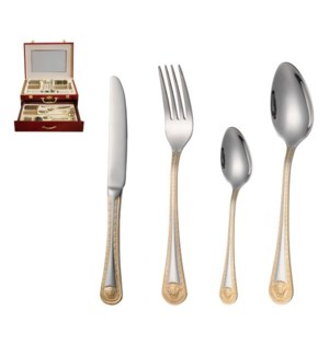 Cutlery Set 84pc SS Gold in wood Case Svc 12                 643700143037