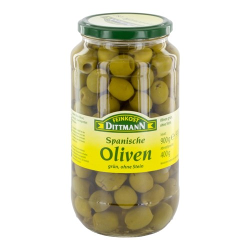 Dittmann Spanish Green Pitted Olives 31.7oz 900g             400223940100