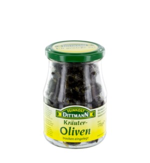 Dittmann Black Pitted Olives Marinated with Herbs 6oz 170g   400223942960