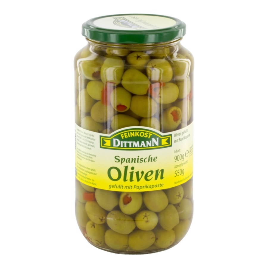 Dittmann Green Olives Stuffed with Red Pepper Paste 31.7oz 9 400223943800