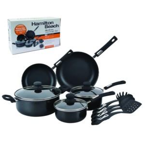 HB 12pc Aluminum cookware set, 3.0mm, black, Nonstick interi 643700229113