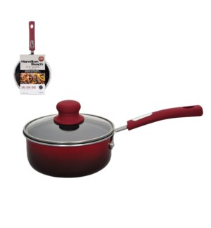HB Sauce Pan Aluminum2.5Qt Nonstick Coating with Glass Lid,  643700260901