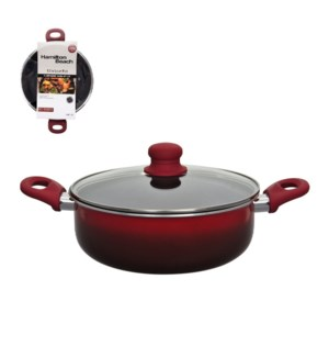HB Low Pot Aluminum12in Nonstick Coating with Glass Lid, Sof 643700267559
