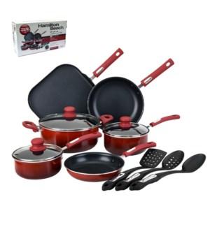 HB 12pc Aluminum cookware set, 3.0mm, gradient red, Nonstick 643700229137