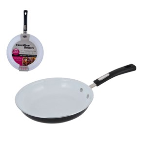 HB 12in Aluminum Fry pan, black, white ceramic Nonstick inte 643700233851