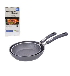 HB 2pc aluminum frypan set, 3mm forged, grey, rock textured  643700229281
