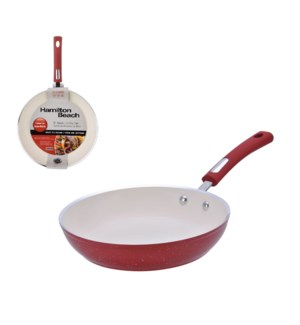 HB aluminum fry pan 8in, 3.0mm forged, red speckled procelai 643700243423