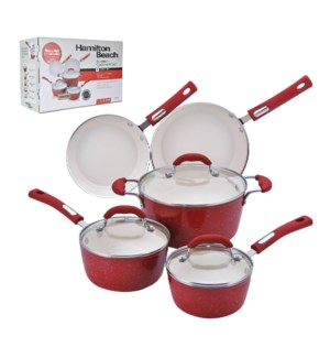 HB 8pc aluminum cookware set, 3.0mm forged, red speckled pro 643700228628