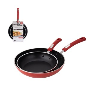 HB Fry Pan 2pc Set Forged Aluminum 2.5mm Black Nonstick Coat 643700228635