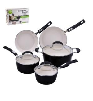 HB 8pc aluminum cookware set, 3.0mm forged, black porcelain  643700228642