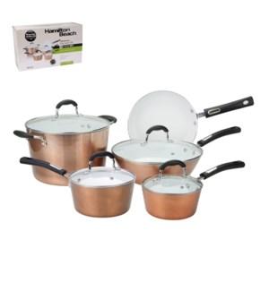 HB 9pc Aluminum cookware set, copper, white ceramic Nonstick 643700243935
