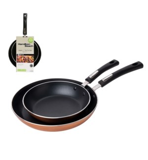 HB 2pc Aluminum Fry Pan Set 9in and 11in, Copper, Black Nons 643700290298