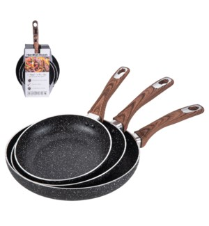 HB Fry Pan 3pc Set Alum.8in,9.5in,11in Nonstick with Marble  643700308825