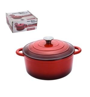 HB Cast Iron Dutch Oven 5.5Qt, Cream Enamel coating, Red col 643700257734