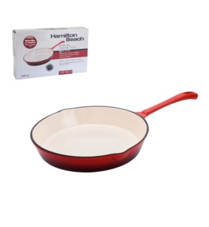 HB Cast Iron Fry Pan 10in Cream Enamel coating, Red color    643700255242