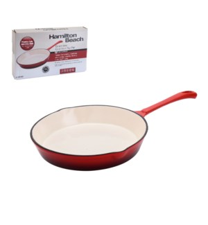 HB Cast Iron Fry Pan 8in, Cream Enamel coating, Red color    643700259936