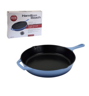 HB Cast Iron Fry Pan 12in, Black Enamel coating, Blue color  643700259790