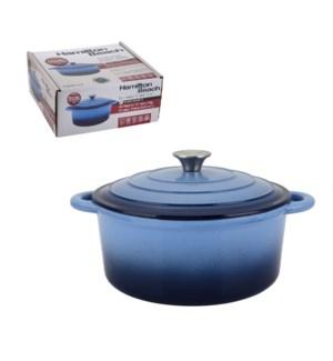 HB Cast Iron Dutch Oven 5.5Qt, Black Enamel coating, Blue co 643700259769