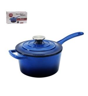 HB Sauce Pan Cast Iron 2Qt Enamel Coating, with SS Knob, Blu 643700285751