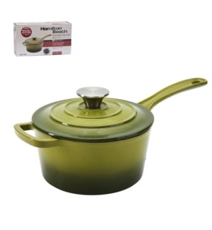 HB Sauce Pan Cast Iron 2Qt Enamel Coating, with SS Knob, Gre 643700285744