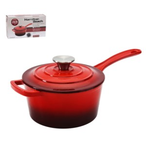 HB Sauce Pan Cast Iron 2Qt Enamel Coating, with SS Knob, Red 643700285775