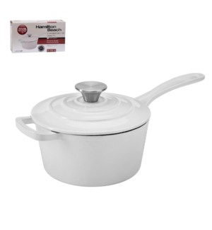 HB Sauce Pan Cast Iron 2Qt Enamel Coating, with SS Knob, Whi 643700285768