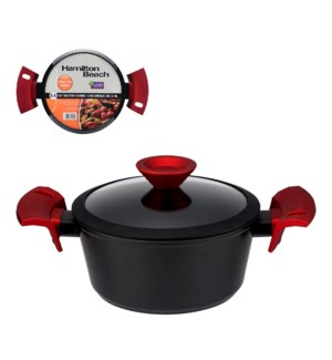 """HB Forged Alu. Dutch Oven 2.5Qt Black Nonstick Coating, Red 643700310514"