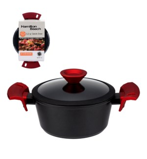 """HB Forged Alu. Dutch Oven 3.2Qt Black Nonstick Coating, Red 643700312464"