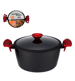 """HB Forged Alu. Dutch Oven 4.2Qt Black Nonstick Coating, Red 643700310521"