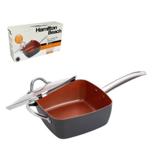HB Square Pan Alum. 9.5in Copper Nonstick Coating,Hard Anodi 643700292476