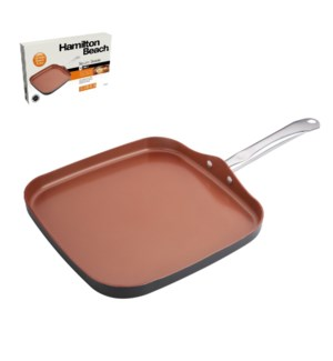 HB Square Griddle Alum.12in Copper Nonstick Coating,Hard Ano 643700292490