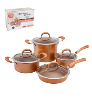 HB Cookware 8pc Set Alum Whitford Fusion Copper Ceramic Coat 643700254962
