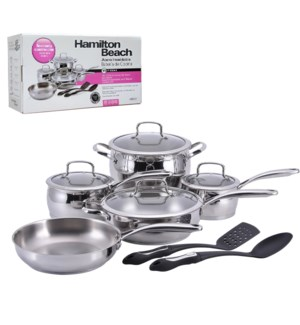 HB 11pc Stainless steel cookware set, 18, 10 stainless steel 643700228512