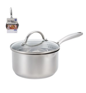 HB 2.5QT covered sauce pan with pouring spout, 18, 10 stainl 643700228529
