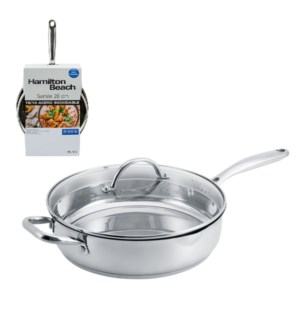 HB 11in covered saute pan with pouring spout, 18, 10 stainle 643700228536