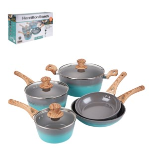 HB Forged cookware 8pc Set Gray ceramic coating, Green and g 643700332646