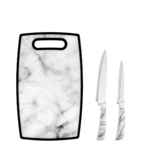 Hamilton Beach Knife 2pc Set S/S w/White Marble Color PP Han 643700261557