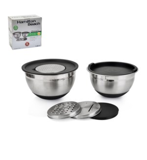 Hamilton Beach Mixing Bowl 2pc Set SS 7in,8in with PE Lid an 643700256652